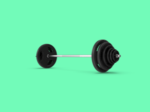 Graphic of Barbell on a Green Background
