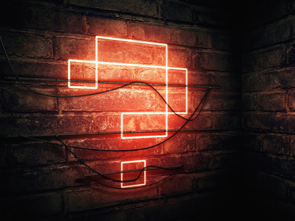 Question mark neon sign